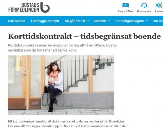 Korttidskontrakt – tidsbegränsat boende - Bostadsförmedlingen i Stockholm AB